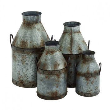 Set of 4 Galvanized Metal Cans
