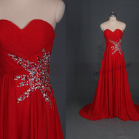 Elegant red chiffon evening dresses hot,floor length women dress for prom party,affordable sweetheart bridesmaid gowns.