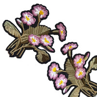 Iron On Purple Violet Embroidered Roses Flowers Patches Appliques 1 pcs