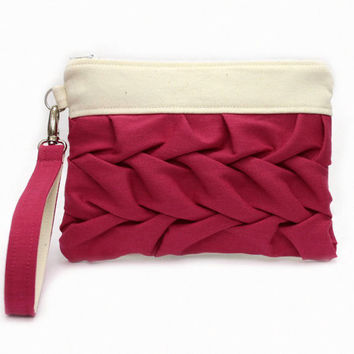 Pink Clutch Bag, Pleated Pouch, Wrist Strap Bag, Bridesmaid Purse, Pink Wristlet Bag, Smocked Bag, Small Clutch Purse, Pink Zipper Pouch