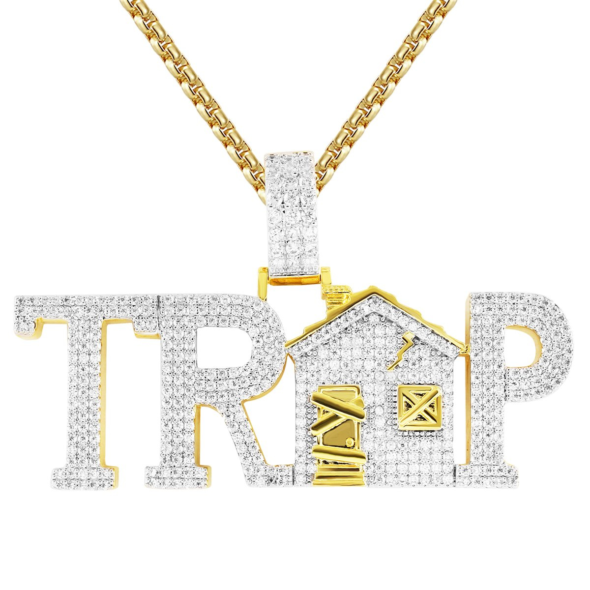 Image of Gold Finish Trap House Bling Rapper Pendant Free Box Chain