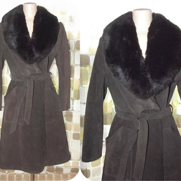 Vintage 70s Opossum Fur & Suede Leather Princess Trench Coat HUGE Collar Brown S/M