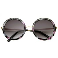 Women's Hippie Flower Print Round Sunglasses 9597