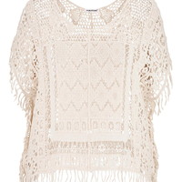 Plus Size - Crochet Cropped Poncho With Fringe - Beige