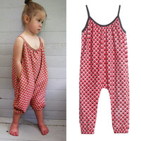 New Girls Overalls Kids One-piece Floral Playsuit Jumpsuits Children Suspender Outfit Girls Harem Pant Trousers Clothes
