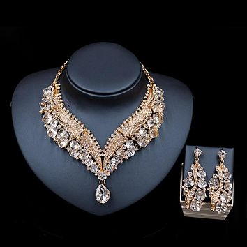 Crystal necklace and earrings wedding