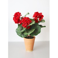 SALE - Red Fake Outdoor Geranium Plant in Pot - 13.5""