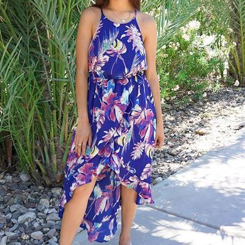 In The Tropics Blue Floral Print Halter High Low Maxi Dress