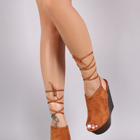Wild Diva Lounge Suede Peep Toe Lace Up Faux Wooden Platform Wedge