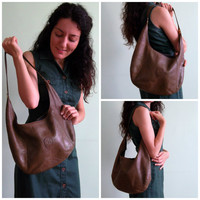 90s Sage Green Genuine Leather Hobo Bag, Over The Shoulder Everyday Purse, Slouchy Messenger, Distressed Organizer, Medium Size Sling Tote