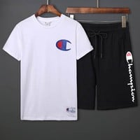 Champion 2019 new men's casual wild sports short-sleeved suit two-piece white
