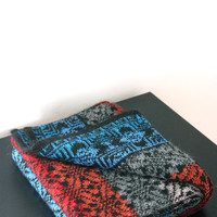 Hand Knit Long Wool Scarf For Men / For Women Unisex Scarf For Him Black Grey Blue Red Orange Red Scarf Geometric Pattern Winter Accessories