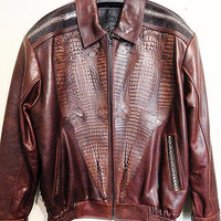 Kashani Custom Alligator Stingray Row Stone Bomber Jacket