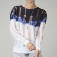 Distressed Oversized Ombre Sweater
