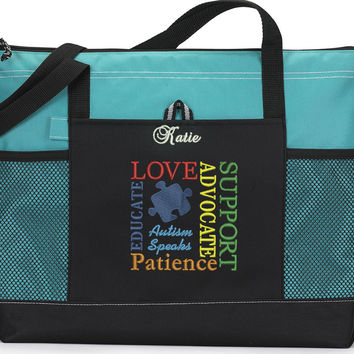 Autism Awareness Personalized Zippered Tote Bag