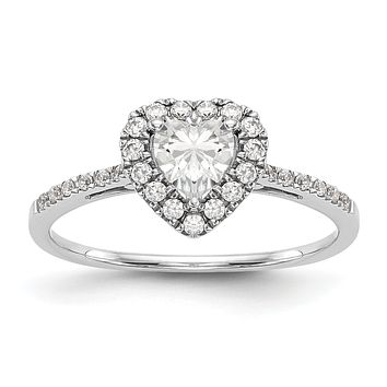 1/3 Ct. Natural Heart Shape Diamond Semi-mount Engagement Ring in 14K White Gold