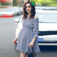 Off-the-shoulder Stripes Maternity Dress