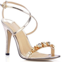 Buckle Strap Crystal Sandals