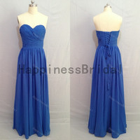 Blue sweetheart chiffon dress with pleat,fashion prom dresses,hot sales dresses,bridesmaid dress,chiffon prom dress,high quality dress 2014