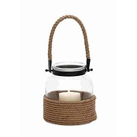 Metal Lantern With Rope Handle by Benzara