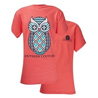 Southern Couture  Preppy Geo Owl Chevron Pattern Girlie Bright T Shirt