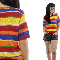 vintage 90s striped knit sweater top crochet woven rainbow colorblock VIVID short sleeved jumper gauzy new wave mod hippie small