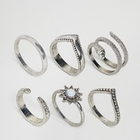 ASOS CURVE Exclusive Pack of 6 Snake Charmer Rings at asos.com