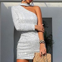 Sparkling One Shoulder Bodycon Dress
