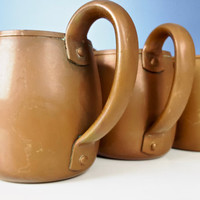 Vintage Solid Copper Mug Set of 6, Vintage Solid Copper Moscow Mule Mug, West Bend Copper, Distressed Copper Cup Rustic Farmhouse Home Decor