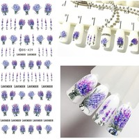 Flower Stickers for Nails Lavender Purple Blooming Stickers on Nails Flower Nail Stickers Decals ZJT097