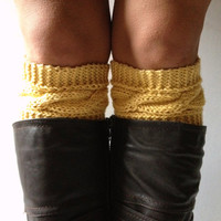 Creme Brulee Boot Cuffs Cable Knit Yellow Boot Liners Toppers