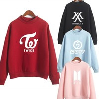 KPOP BTS Bangtan Boys Army exo blackpink Casual Women Oversized Hoodie Long Sleeve  Hoodie Splice 3 Color Hooded Sweatshirt Moletom Feminino s AT_89_10