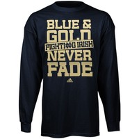 adidas Notre Dame Fighting Irish Never Fade Long Sleeve T-Shirt - Navy Blue