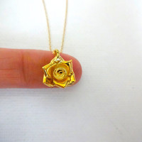 Karen Hill Tribe Yellow Gold Vermeil Rose Charm Necklace; Flower Pendant; Feminine Gold Jewelry; 3 Dimensional Charm; Detailed Charm