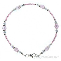 Alluring Pink Crystal Beaded Anklet
