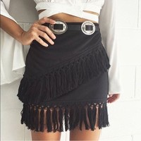 Black Tassel Fringe Skirt Mini XS Small