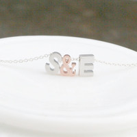 Couples Necklace - Initial Necklace - You and Me Necklace - Mixed Metal Necklace - Love Necklace