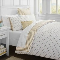 The Emily and Meritt Metallic Dottie Duvet Cover, Full/Queen