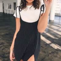 Women's dresses Summer new fashion stripe band width loose dress