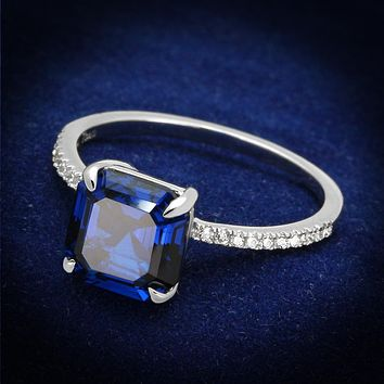 925 Silver Ring TS177 Rhodium 925 Sterling Silver Ring in London Blue