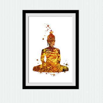 Buddha poster Buddha watercolor print Buddha colorful poster Buddha wall art Buddha art decor Yoga studio poster Inspirational print  W397
