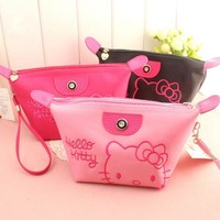 Cartoon Hello Kitty Cosmetic Bag Women Travel Zipper Makeup Case Organizer Storage Pouch Toiletry Make Up Beauty Wash Kit Bags