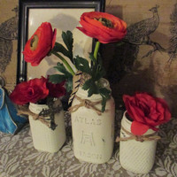 Vintage Mason Jar Set of Three ~ Paper and Party Supplies ~ Boy or Girl Baby Reveal Shower ~ Wedding Table Centerpiece ~ Distressed