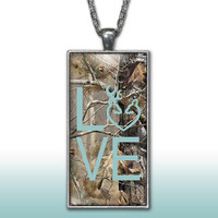 Camo Love Heart Pendant Charm Necklace Deer Head Browning Blue Country Girl Custom Necklace, Silver Plated Jewelry