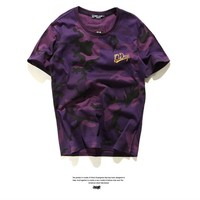 Short Sleeve Pale Violet Camouflage T-shirts [10176382599]
