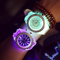 2017 Geneva Luminous LED Sport Watches Women Quartz Watch ladies Women Silicone Wristwatches glowing  Relojes Mujer