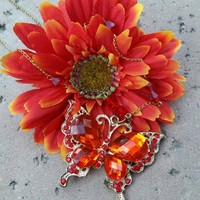 PRICE DROP: Beautiful Red Butterfly Pendant Necklace With Gold Chain