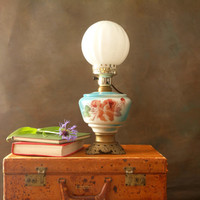 Upcycled Vintage Parlor Lamp, Glass Table Lamp in Blue and Rose with Brass Base