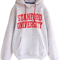 Letters Print Hooded Fleece Sweatershirt