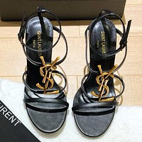YSL Sandals Saint Laurent Women High Heel Meta Letters Black Shoes